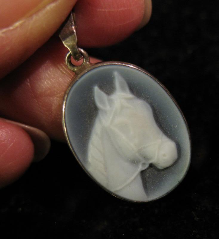 "Kessler Blue Agate Horse Head Cameo Sterling Silver Pendant, 5/8"""