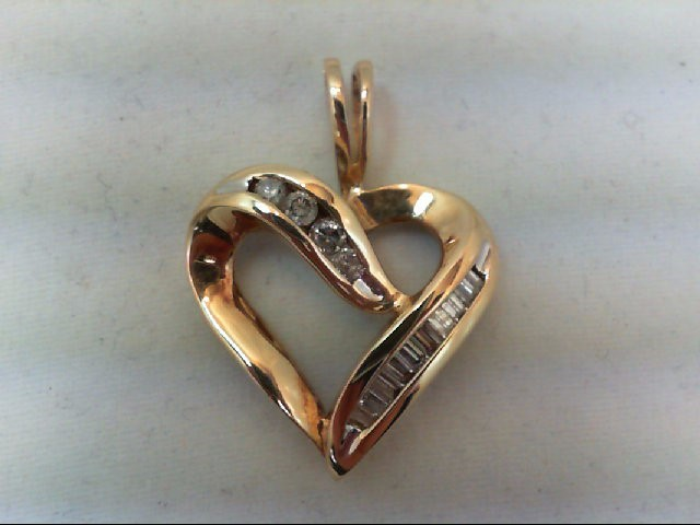 Gold-Multi-Diamond Pendant 14 Diamonds .58 Carat T.W. 10K Yellow Gold 4g
