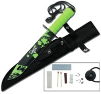 "M&M MERCHANDISERS Combat Knife RT-9003GZ 14.5"" GREEN HANDLE GREEN CAMO BLADE"