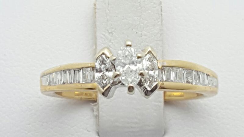 Lady's Diamond Engagement Ring 19 Diamonds .52 Carat T.W. 14K Yellow Gold 3.8g