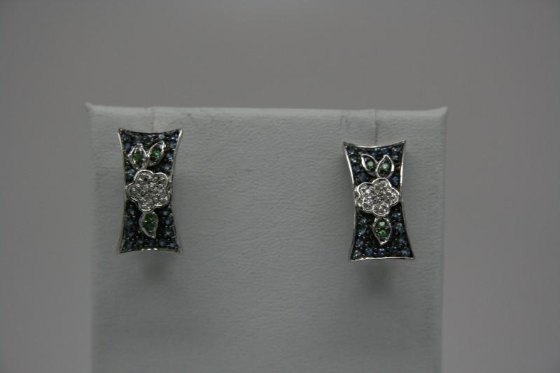 SAPPHIRE DIAMOND FLOWER EARRINGS 14K WG