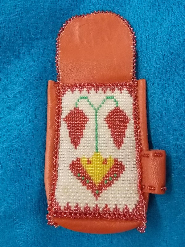 Native American Deerskin Beaded Leather Cigarette Pouch