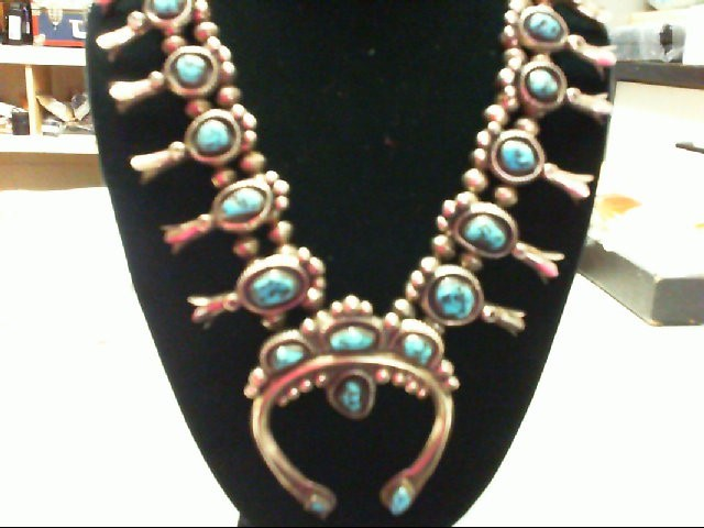 Turquoise Stone Necklace 925 Silver 220.5g