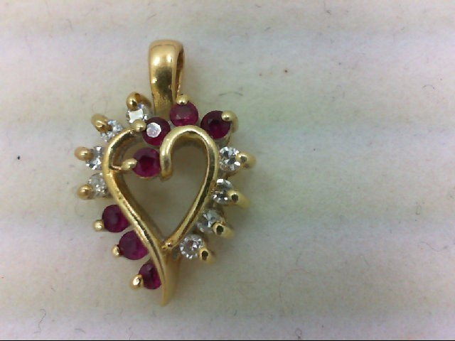 Ruby Gold-Diamond & Stone Pendant 8 Diamonds .08 Carat T.W. 14K Yellow Gold