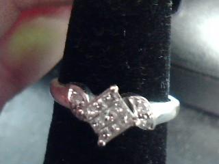 Lady's Gold Ring 10K White Gold 0.09dwt
