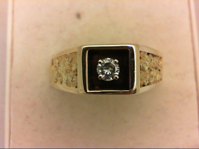 Gent's Diamond Solitaire Ring 0.12 CT. 14K Yellow Gold 9g