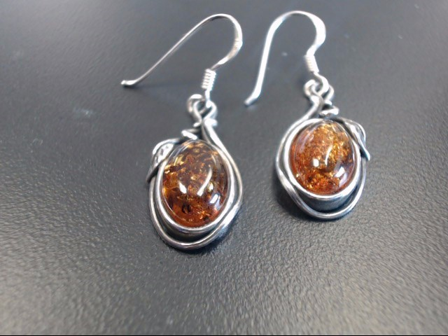 Synthetic Orange Stone Silver-Stone Earrings 925 Silver 3.62g