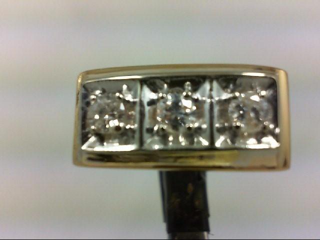Gent's Gold-Diamond Wedding Band 3 Diamonds .48 Carat T.W. 14K 2 Tone Gold