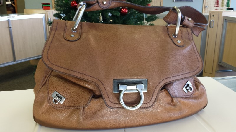 SALVATORE FERRAGAMO Handbag BROWN FRAME SATCHEL