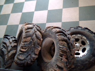 SET OF 4 ITP WHEELS WITH XTR MUDLITE TIRES FITS YAMAHA RHINO