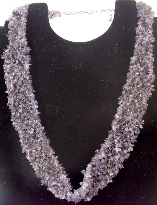 WOVEN IOLITE TUMBLE POLISHED WOVEN BEAD NECKLACE