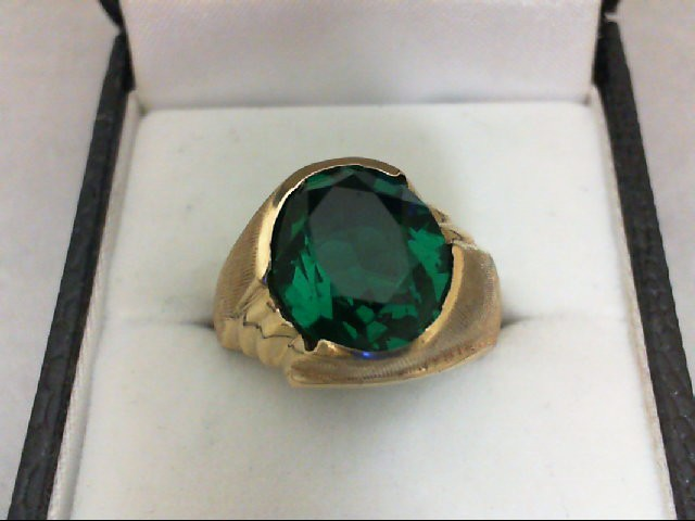 Synthetic Green Stone Gent's Stone Ring 10K Yellow Gold 7g