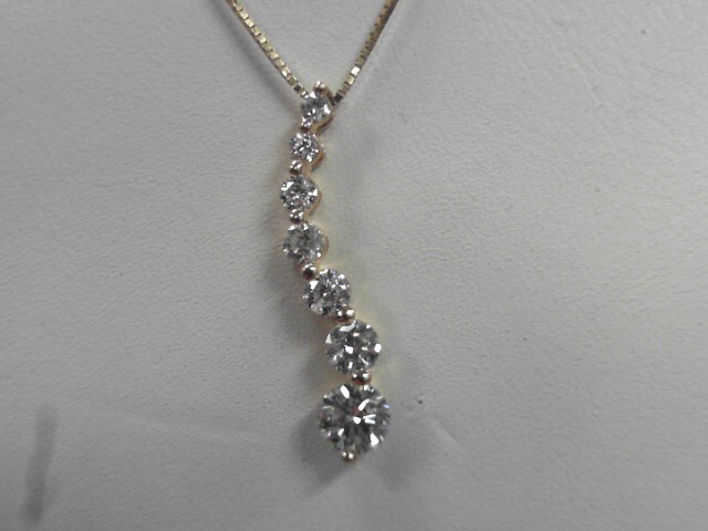 Diamond Necklace 7 Diamonds .91 Carat T.W. 14K Yellow Gold 2.58g
