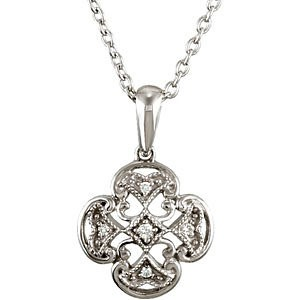 "18"" Diamond Necklace 5 Diamonds .010 Carat T.W. 925 Silver 1.15g"