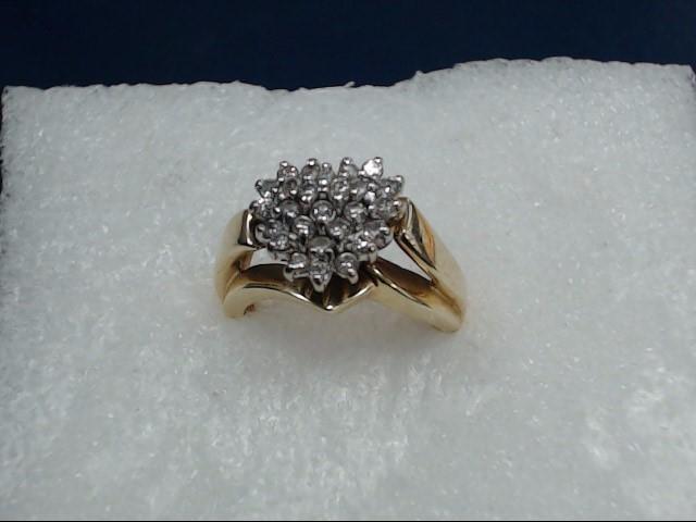 Lady's Diamond Cluster Ring 21 Diamonds .21 Carat T.W. 14K Yellow Gold 4.38dwt