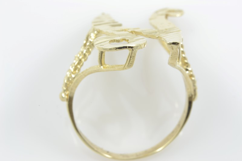 INITIAL N RING SOLID 10K YELLOW GOLD LARGE BLING MONOGRAM SIZE 7.75