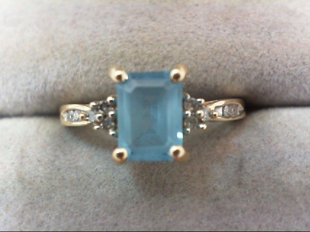 Blue Topaz Lady's Stone & Diamond Ring 10 Diamonds .10 Carat T.W.