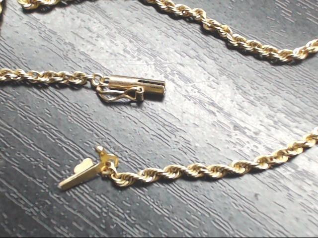 Gold Rope Bracelet 14K Yellow Gold 2.4g