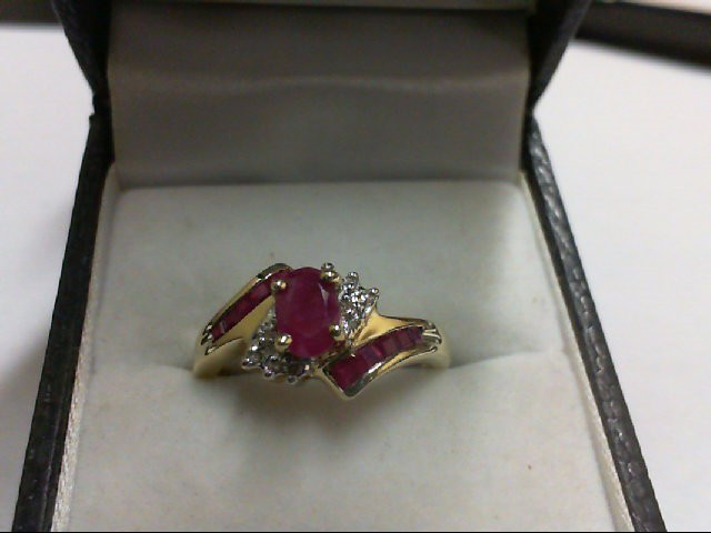 Ruby Lady's Stone Ring 10K Yellow Gold 2.1g