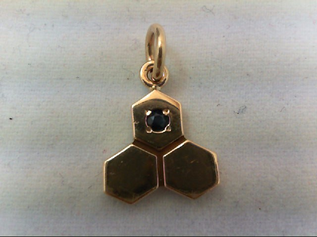 Sapphire Gold-Stone Pendant 14K Yellow Gold 1.6g