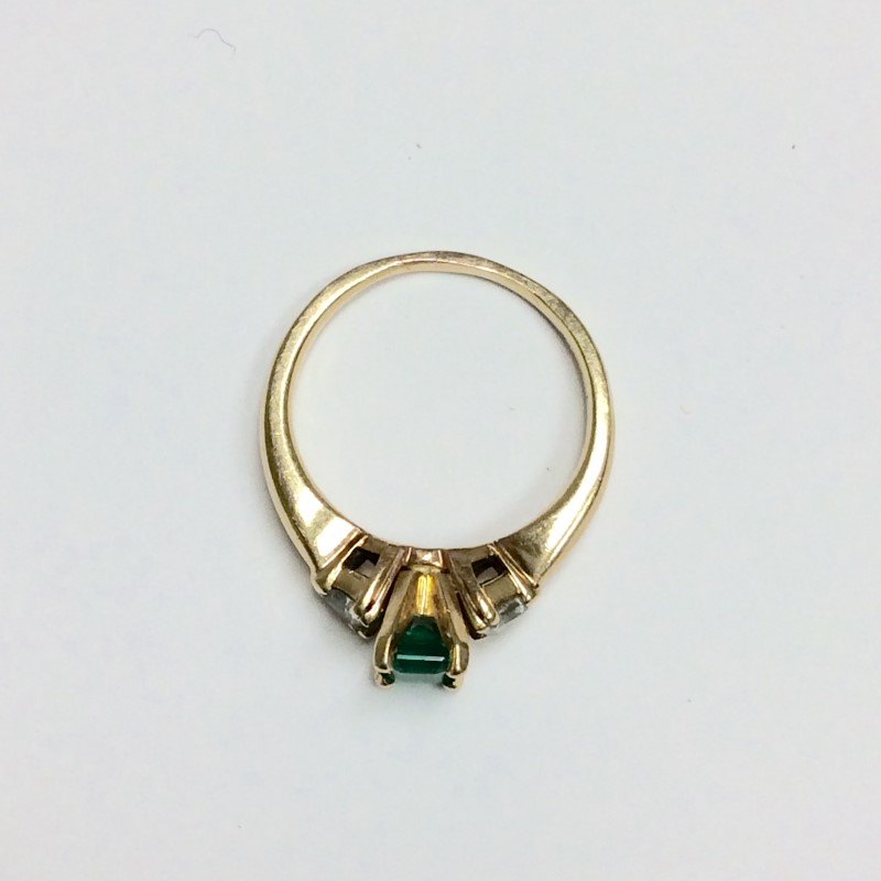Emerald Lady's Stone & Diamond Ring 2 Diamonds .24 Carat T.W. 14K Yellow Gold