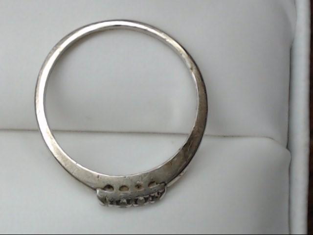 Lady's Gold-Diamond Anniversary Ring 4 Diamonds 0.12 Carat T.W. 14K White Gold 2