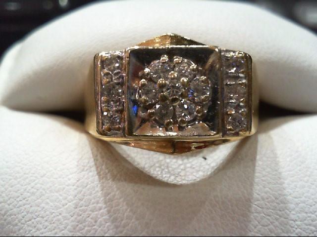 Gent's Gold-Diamond Wedding Band 13 Diamonds .53 Carat T.W. 14K Yellow Gold 9g