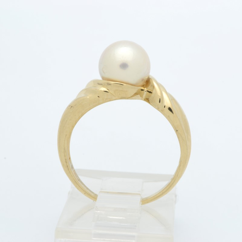 ESTATE PEARL RING SOLID 14K YELLOW GOLD ROUND 7MM 2.9G FINE SIZE 5