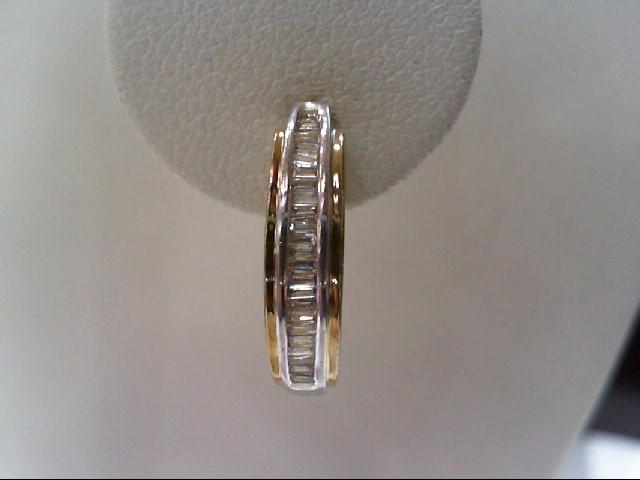 Gold-Diamond Earrings 34 Diamonds .170 Carat T.W. 10K 2 Tone Gold 2.8g