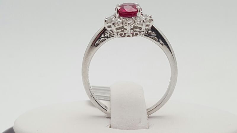 lady's ruby & Diamond Ring 10 Diamonds .50 Carat T.W. 18K White Gold 3.6g