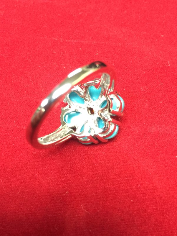 Lady's Turquoise & Citrine Cocktail Ring 925 Silver 3.4dwt Size:9