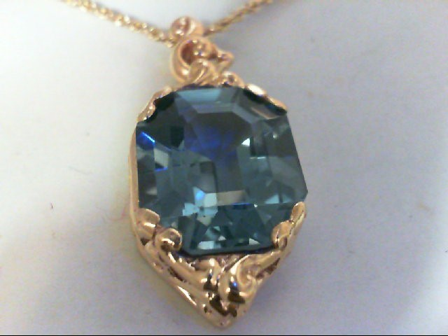 Blue Stone Gold-Stone Pendant 14K Yellow Gold 12.24g