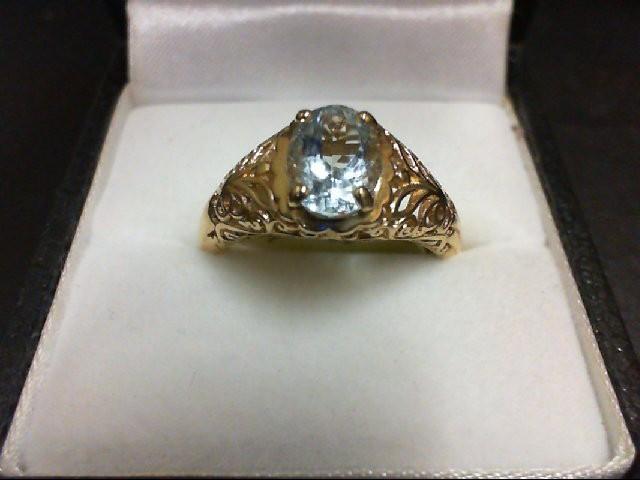 Synthetic Aquamarine Lady's Stone Ring 14K Yellow Gold 3.3g