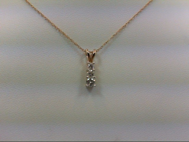 Gold-Multi-Diamond Pendant 3 Diamonds 0.25 Carat T.W. 14K Yellow Gold 1.4g