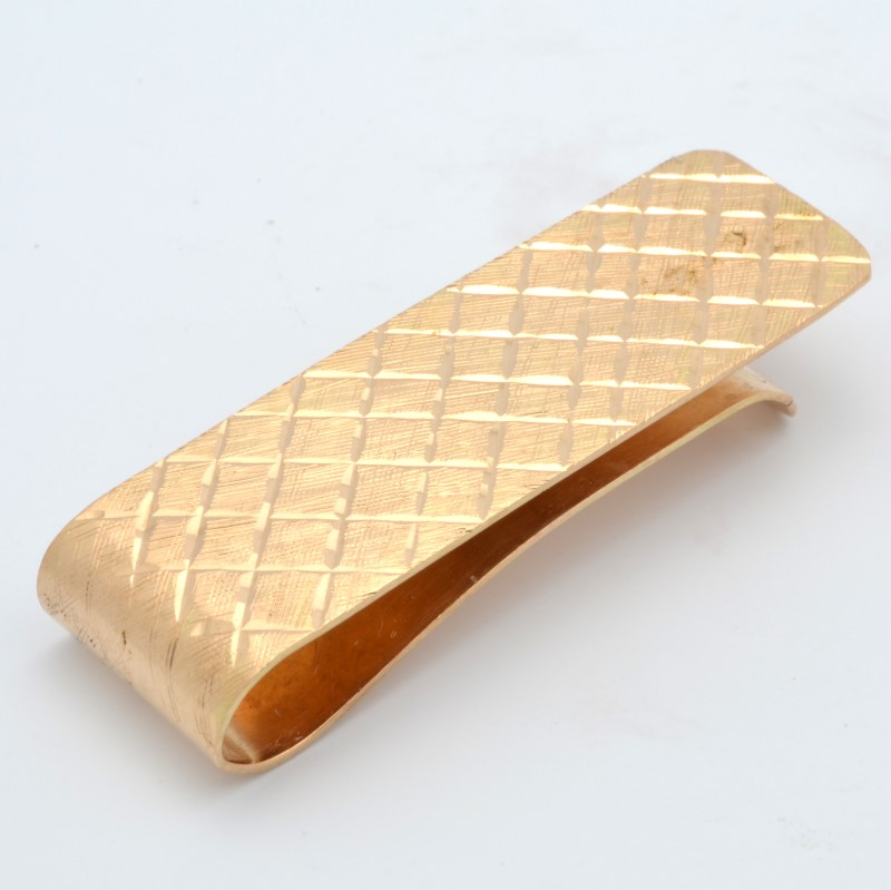 ESTATE MENS MONEY CLIP SOLID 14K YELLOW GOLD WEAVE DESIGN DECO FINE