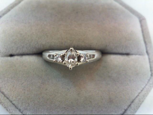 Lady's Diamond Engagement Ring 7 Diamonds .37 Carat T.W. 14K White Gold 3.8g