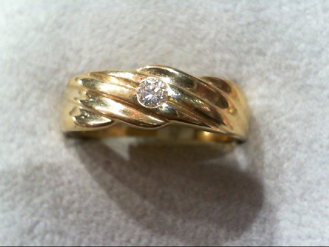 Gent's Gold-Diamond Wedding Band .08 CT. 14K Yellow Gold 4.6g