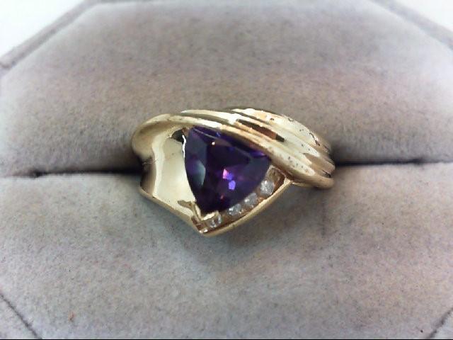 Amethyst Lady's Stone & Diamond Ring 4 Diamonds .08 Carat T.W. 10K Yellow Gold