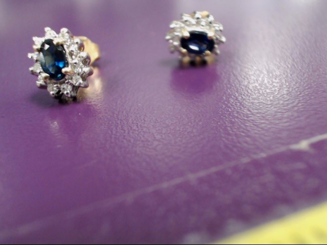 Sapphire Gold-Diamond & Stone Earrings 24 Diamonds .24 Carat T.W.