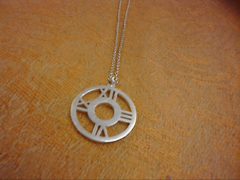 NECKLACE JEWELRY JEWELRY; STERLING SILVER NECKLACE ROUND PENDANT WITH 12 - 3 - 6