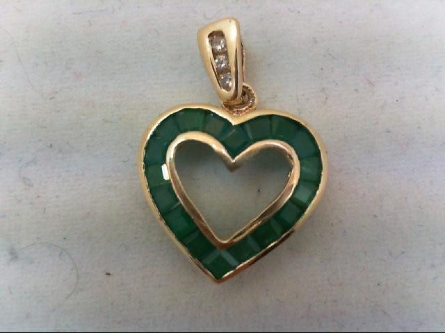 Emerald Gold-Diamond & Stone Pendant 3 Diamonds 0.06 Carat T.W. 14K Yellow Gold