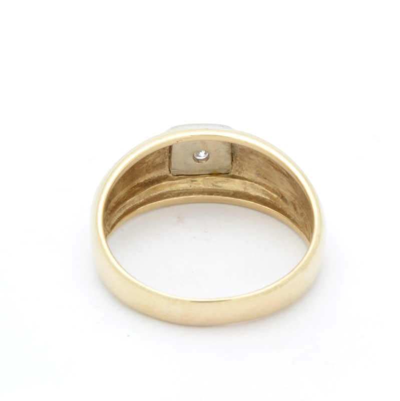 ESTATE MENS DIAMOND RING BAND SOLID 14K GOLD WEDDING FINE SIZE 9.75