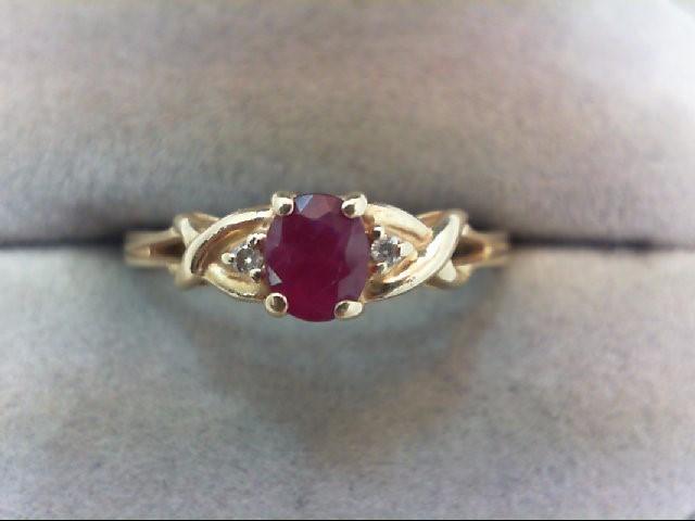 Ruby Lady's Stone & Diamond Ring 2 Diamonds .02 Carat T.W. 14K Yellow Gold 1.9g