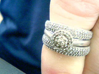 Lady's Silver-Diamond Ring 125 Diamonds 1.25 Carat T.W. 925 Silver 7g