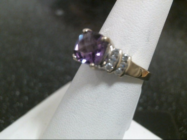 Synthetic Tanzanite Lady's Stone & Diamond Ring 12 Diamonds .72 Carat T.W.