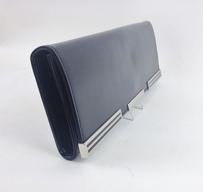 GUCCI SIGRID BLACK PATENT LEATHER EVENING CLUTCH