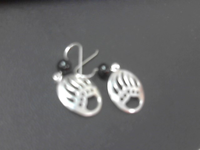 Black Stone Silver-Stone Earrings 925 Silver 4.5g