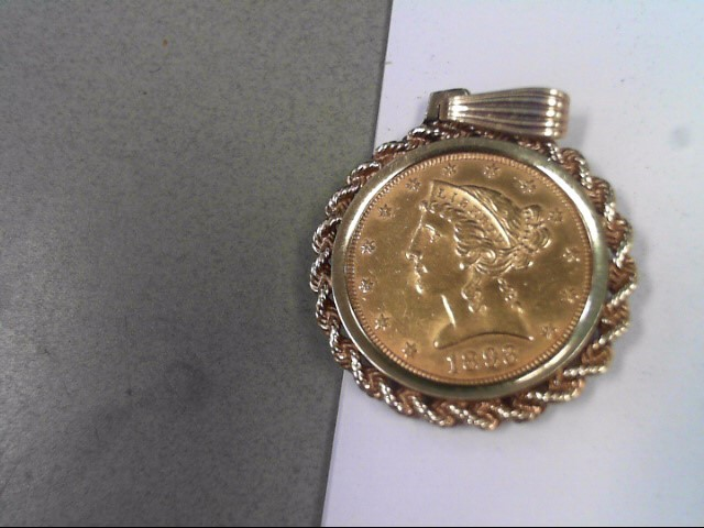 1893 $5 GOLD COIN WITH 14K BEZEL