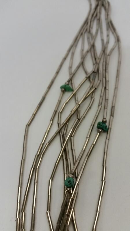 Synthetic Turquoise Stone Necklace NAVAJO_JEWELRY 925 Silver 35dwt