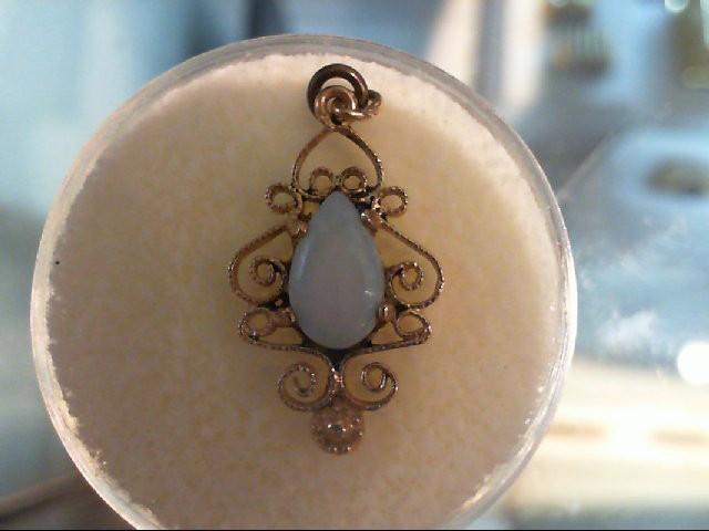 Opal Gold-Stone Pendant 10K Yellow Gold 1g